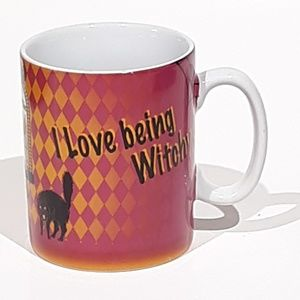 """Halloween Mug Cup """"I Love Being Witchy"""" Black Cat"""
